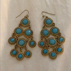 Gold and turquoise dangling earrings